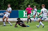 Gideon Boafo of London Broncos over the try line to score during the Betfred Championship match between London Broncos and Newcastle Thunder at The Rock, Rosslyn Park, London, England on 9 May 2021. Photo by Liam McAvoy.