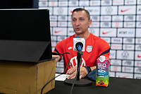 HOUSTON, TX - JUNE 10: Vlatko Andonovski of the USWNT talks to the media after a game between Portugal and USWNT at BBVA Stadium on June 10, 2021 in Houston, Texas.