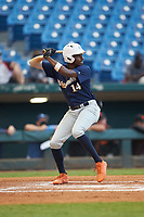 Michael Braswell (14) of Campbell HS in Mableton, GA playing for the Milwaukee Brewers scout team during the East Coast Pro Showcase at the Hoover Met Complex on August 4, 2020 in Hoover, AL. (Brian Westerholt/Four Seam Images)