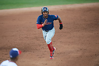 Salem Red Sox right fielder Kyri Washington (21) running the bases during the first game of a doubleheader against the Potomac Nationals on May 13, 2017 at G. Richard Pfitzner Stadium in Woodbridge, Virginia.  Potomac defeated Salem 6-0.  (Mike Janes/Four Seam Images)