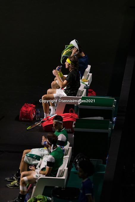 Rotterdam, The Netherlands, 3 march  2021, ABNAMRO World Tennis Tournament, Ahoy, First round doubles: Petros Tsitsipas (GRE) / Stefanos Tsitsipas (GRE) vs. Sander Gille (BEL) / Joran Vliegen (BEL).<br /> Photo: www.tennisimages.com/