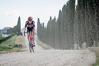 """Harm Vanhoucke (BEL/Lotto Soudal), with a knee full of scratches from an earlier crash, over the final gravel sector of the day.<br /> <br /> 104th Giro d'Italia 2021 (2.UWT)<br /> Stage 11 from Perugia to Montalcino (162km)<br /> """"the Strade Bianche stage""""<br /> <br /> ©kramon"""