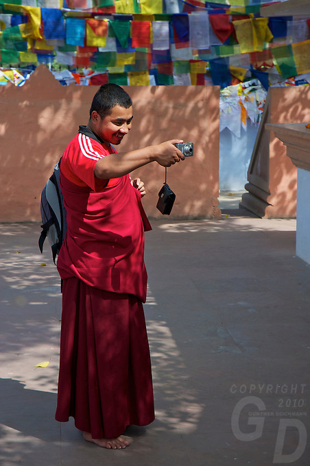 Buddhist Monk taken Photos at Varanasi Sarnath  Buddhist Area, Temple and Dhaekh Stupa India