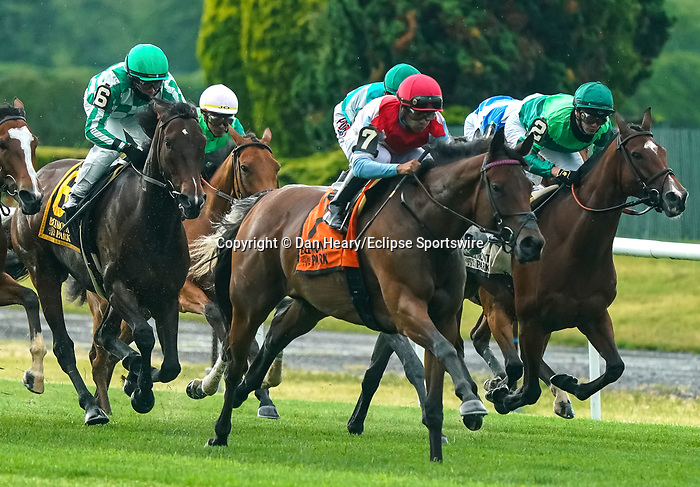 JUNE 04, 2021 : Mean Mary with Luis Saez aboard, wins the Gr.2 New York  Stakes, at 1 1/4  mile on the turf, at Belmont Park, Elmont, NY.Dan Heary-Eclipse Sportswire-CSM