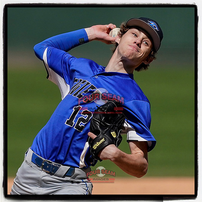 Garrett Dehlinger (12) of the Eastside High School Eagles pitches in a 6-5 win over the Wren High School Hurricanes on Saturday, March 20, 2021, at Fluor Field at the West End in Greenville, South Carolina. (Tom Priddy/Four Seam Images)
