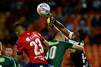 MEDELLIN - COLOMBIA - 13 - 03 - 2018: Leonardo Castro (Izq.) jugador de Deportivo Independiente Medellin disputa el balón con Jeider Riquett (Cent.) y Esteban Ruiz (Der.) jugadores de La Equidad, durante partido de la fecha 8 entre Deportivo Independiente Medellin y La Equidad, por la Liga Aguila I 2018, en el estadio Atanasio Girardot de la ciudad de Medellin. / Leonardo Castro (L) player of Deportivo Independiente Medellin fights for the ball with Jeider Riquett (C) and Esteban Ruiz (R) players of La Equidad, during a match for the 8th date between Deportivo Independiente Medellin and La Equidad, for the Liga Aguila I 2018 at the Atanasio Girardot stadium in Medellin city. Photos: VizzorImage  / Leon Monsalve / Cont.