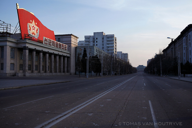A six-lane boulevard passing through Kim Il-Sung Square, the main center square of Pyongyang, North Korea (DPRK) is empty of any traffic on 24 February 2008.