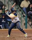 Michigan Wolverines Softball infielder Lindsay Montemarano (18) at bat during a game against the University of South Florida Bulls on February 8, 2014 at the USF Softball Stadium in Tampa, Florida.  Michigan defeated USF 3-2.  (Copyright Mike Janes Photography)