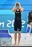July 29, 2012..Breeja Larson of USA set to compete in women's 100m Breaststroke semifinal at the Aquatics Center on day two of 2012 Olympic Games in London, United Kingdom.