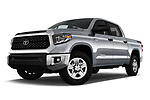 Stock pictures of low aggressive front three quarter view of a 2020 Toyota Tundra SR5 5.7L Crew Max 4WD Short Bed 4 Door Pick Up