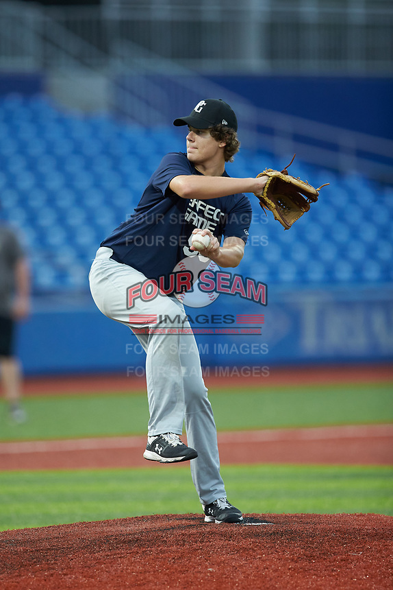 Zeph Hollenbeck (59) of Durham Academy High School in Durham, NC during the Atlantic Coast Prospect Showcase hosted by Perfect Game at Truist Point on August 22, 2020 in High Point, NC. (Brian Westerholt/Four Seam Images)