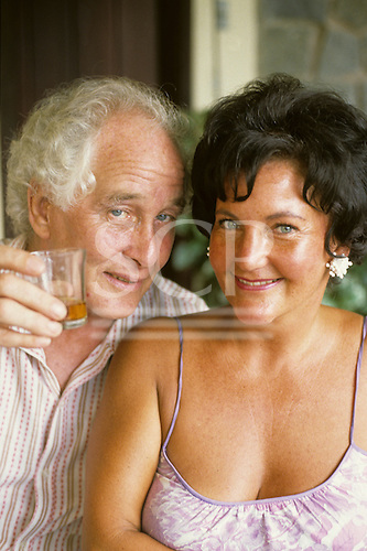 Rio de Janeiro, Brazil; Great Train Robber Ronnie Biggs at home relaxing with a friend.