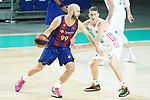 Real Madrid Baloncesto's Jaycee Carroll (r) and FC Barcelona's Nick Calathes during Liga Endesa ACB 1st Final match. June 13,2021. (ALTERPHOTOS/Acero)