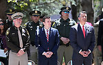 Las Vegas Metropolitan Police Department Sheriff Joe Lombardo, Nevada Attorney General Adam Laxalt and Nevada Gov. Brian Sandoval participate in the 21st annual Nevada State Law Enforcement Officers Memorial ceremony in Carson City, Nev., on Thursday, May 3, 2018. <br />Photo by Cathleen Allison/Nevada Momentum