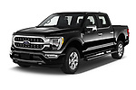 2021 Ford F-150 Platinum 4 Door Pick-up Angular Front automotive stock photos of front three quarter view