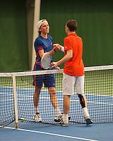 01-12-13,Netherlands, Almere,  National Tennis Center, Tennis, Winter Youth Circuit, Siem Fenne congratulates Patric Speelman(R)     <br /> Photo: Henk Koster