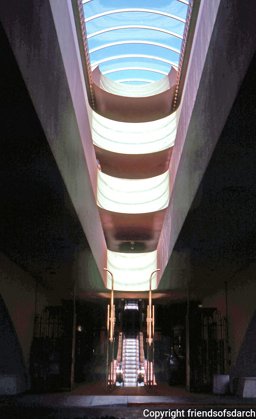 F.L. Wright: Marin Civic Center. View of 4-story clerestory.  Photo '83.