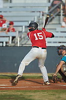 Damon Massey (15) (West Virginia St) of the Lake Norman Copperheads at bat against the Mooresville Spinners at Moor Park on July 6, 2020 in Mooresville, NC.  The Spinners defeated the Copperheads 3-2. (Brian Westerholt/Four Seam Images)