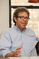 Author Jonathan Franzen being interviewed in his home.