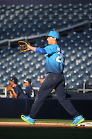 Jacob Gonzalez (26) of the West Team waits for a throw at first base against the East Team during the Perfect Game All American Classic at Petco Park on August 14, 2016 in San Diego, California. West Team defeated the East Team, 13-0. (Larry Goren/Four Seam Images)