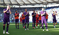 Football, Serie A: S.S. Lazio - Fiorentina, Olympic stadium, Rome, 7 ottobre 2018. <br /> Fiorentina's players greet their supporters at the end of the Italian Serie A football match between S.S. Lazio and Fiorentina at Rome's Olympic stadium, Rome on October 7, 2018.<br /> Lazio wins the match 1-0.<br /> UPDATE IMAGES PRESS/Isabella Bonotto