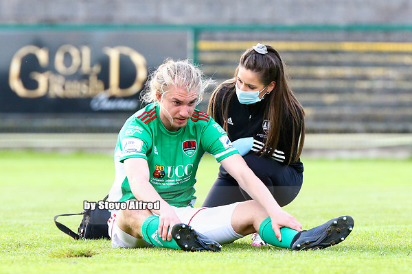 Cork City physio Orla McSweeney with Jonas Hakkinen of Cork City.<br /> <br /> Cobh Ramblers v Cork City, SSE Airtricity League Division 1, 28/5/21, St. Colman's Park, Cobh.<br /> <br /> Copyright Steve Alfred 2021.