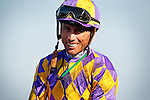 Garrett Gomez smiles after winning the A Gleam Handicap at Betfair Hollywood Park in Inglewood abaord Switch, California on July 14, 2012.