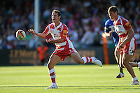 20130801 Copyright onEdition 2013 ©<br /> Free for editorial use image, please credit: onEdition.<br /> <br /> Billy Burns of Gloucester Rugby 7s passes during the J.P. Morgan Asset Management Premiership Rugby 7s Series.<br /> <br /> The J.P. Morgan Asset Management Premiership Rugby 7s Series kicks off for the fourth season on Thursday 1st August with Pool A at Kingsholm, Gloucester with Pool B being played at Franklin's Gardens, Northampton on Friday 2nd August, Pool C at Allianz Park, Saracens home ground, on Saturday 3rd August and the Final being played at The Recreation Ground, Bath on Friday 9th August. The innovative tournament, which involves all 12 Premiership Rugby clubs, offers a fantastic platform for some of the country's finest young athletes to be exposed to the excitement, pressures and skills required to compete at an elite level.<br /> <br /> The 12 Premiership Rugby clubs are divided into three groups for the tournament, with the winner and runner up of each regional event going through to the Final. There are six games each evening, with each match consisting of two 7 minute halves with a 2 minute break at half time.<br /> <br /> For additional images please go to: http://www.w-w-i.com/jp_morgan_premiership_sevens/<br /> <br /> For press contacts contact: Beth Begg at brandRapport on D: +44 (0)20 7932 5813 M: +44 (0)7900 88231 E: BBegg@brand-rapport.com<br /> <br /> If you require a higher resolution image or you have any other onEdition photographic enquiries, please contact onEdition on 0845 900 2 900 or email info@onEdition.com<br /> This image is copyright the onEdition 2013©.<br /> <br /> This image has been supplied by onEdition and must be credited onEdition. The author is asserting his full Moral rights in relation to the publication of this image. Rights for onward transmission of any image or file is not granted or implied. Changing or deleting Copyright information is illegal as specified in the Copyright, Design and Patents Act 1988. If you are in any way unsure of your right to publish this image please contact onEdition on