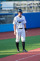 Mac James (9) of the Hudson Valley Renegades takes his lead off of third base against the Brooklyn Cyclones at Dutchess Stadium on June 18, 2014 in Wappingers Falls, New York.  The Cyclones defeated the Renegades 4-3 in 10 innings.  (Brian Westerholt/Four Seam Images)