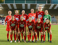 (Back row L to RI) Jana Simons (8) of Woluwe, Noa Corbeels (16) of Woluwe Lotte Michiels (15) of Woluwe, Noemie Fourdin (11) of Woluwe, Marie Bougard (10) of Woluwe, goalkeeper Manon Wallez (24) of Woluwe (front row L to R) Kenza Vrithof (9) of Woluwe, Jana Janssens (22) of Woluwe, Selina Gijsbrechts (23) of Woluwe, Stefanie Deville (3) of Woluwe, Taika De Koker (20) of Woluwe pose for the team photo before during a female soccer game between FC Femina White Star Woluwe and KAA Gent Ladies on the third match day in the 2021 - 2022 season of Belgian Scooore Womens Super League , Friday 3 th of September 2021  in Woluwe , Belgium . PHOTO SPORTPIX   SEVIL OKTEM