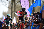 Greg Van Avermaet (BEL) BMC Racing Team feels the pain in the Trouee d'Arenberg during the 116th edition of Paris-Roubaix 2018. 8th April 2018.<br /> Picture: ASO/Pauline Ballet | Cyclefile<br /> <br /> <br /> All photos usage must carry mandatory copyright credit (© Cyclefile | ASO/Pauline Ballet)