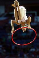 Acrobat girl entertains audiences during the quarter-final World championship basketball match in Istanbul, Lithuania-Argentina, Turkey on Thursday, Sep. 09, 2010. (Novak Djurovic/Starsportphoto.com).