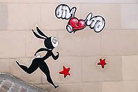 Street art of artist Koeurélé on a wall in Montmartre, Paris, France