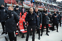 WASHINTON, DC - FEBRUARY 29: Washington, D.C. - February 29, 2020: D.C. United Assistant Coach Chad Ashton with Ben Olsen Head Coach of D.C. United during National Anthem. The Colorado Rapids defeated D.C. United 2-1 during their Major League Soccer (MLS)  match at Audi Field during a game between Colorado Rapids and D.C. United at Audi FIeld on February 29, 2020 in Washinton, DC.