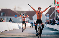Inge van der Heijden (NED) surprisingly finishing 1st and thus becoming the new U23 World Champion<br /> <br /> Women's U23 race<br /> <br /> UCI 2019 Cyclocross World Championships<br /> Bogense / Denmark<br /> <br /> ©kramon