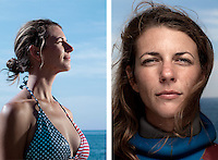 """Ashley Futral Chapman, freediver, poses for the photographer at the A.I.D.A. Freediving World Championships, Villefranche-sur-Mer, France, 11 September 2012. American freediver Ashley started the sport in 2008 at the age of 25 and has, at time of writing, set 3 world records in the sport. She is current world champion in the discipline of 'constant weight without fins', holding a depth record of 67 metres.<br /> <br /> """"The feeling of water is interesting. We drink it, we bathe in it, we brush our teeth in it; but when we're diving in it, we are almost weightless. Its a pretty intoxicating feeling. You have the force of gravity pulling down on you all day, every step you take - whether you know it or not, its creating tension in your body. When you're in the water, you don't have that.""""<br /> <br /> """"Competition dives take all of your concentration. You have to focus only on what you're doing - but you also have to think about nothing at the same time. Nowhere else in my life do I get that opportunity, do I make that opportunity, to find complete silence in my brain"""""""