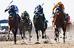Capital Account with David Flores up (left) defeats Camp Victory and Joe Talamo (center) and Coil with Rafael Bejarano (right) to win the Pat O' Brien Stakes at Del Mar Race Course in Del Mar, California on August 26, 2012.