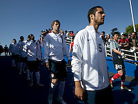 USA midfielders Benny Feilhaber, right, and Michael Bradley, center, walk onto the field for the start of the game. The USA defeated China, 4-1, in an international friendly at Spartan Stadium, San Jose, CA on June 2, 2007.