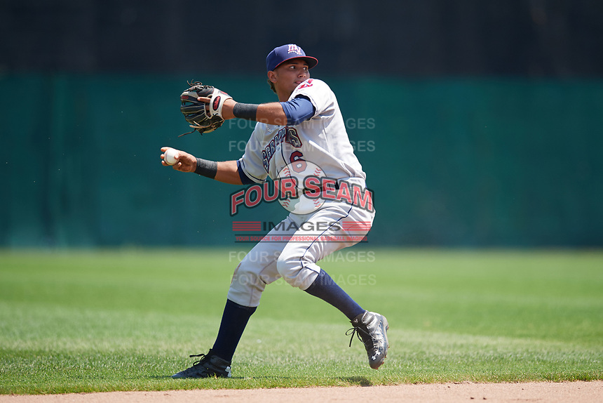 Mahoning Valley Scrappers shortstop Elvis Perez (6) throws to first base after making a diving stope during the first game of a doubleheader against the Auburn Doubledays on July 2, 2017 at Falcon Park in Auburn, New York.  Mahoning Valley defeated Auburn 3-0.  (Mike Janes/Four Seam Images)