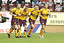 29/09/2007       Copyright Pic: James Stewart.File Name : sct_jspa07_motherwell_v_rangers.Motherwell's Chris Porter is congratulated after he scores the opener.....James Stewart Photo Agency 19 Carronlea Drive, Falkirk. FK2 8DN      Vat Reg No. 607 6932 25.Office     : +44 (0)1324 570906     .Mobile   : +44 (0)7721 416997.Fax         : +44 (0)1324 570906.E-mail  :  jim@jspa.co.uk.If you require further information then contact Jim Stewart on any of the numbers above........