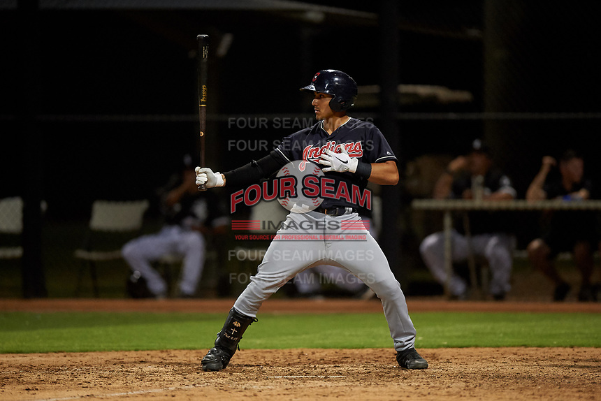 AZL Indians Blue Julian Escobedo (4) at bat during an Arizona League game against the AZL White Sox on July 2, 2019 at Camelback Ranch in Glendale, Arizona. The AZL Indians Blue defeated the AZL White Sox 10-8. (Zachary Lucy/Four Seam Images)