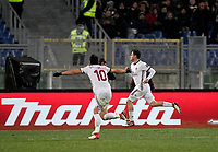 Calcio, Serie A: AS Roma - AC Milan, Roma, stadio Olimpico, 25 febbraio, 2018.<br /> Milan's Davide Calabria (r) celebrates after scoring during the Italian Serie A football match between AS Roma and AC Milan at Rome's Olympic stadium, February 28, 2018.<br /> UPDATE IMAGES PRESS/Isabella Bonotto