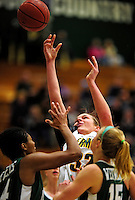 5 December 2009: University of Vermont Catamount forward/center Lauren Buschmann (32), a Freshman from St. Catharines, Ontario, in action against the Manhattan College Jaspers at Patrick Gymnasium in Burlington, Vermont. The Catamounts defeated the visiting Jaspers 78-59 to mark the Lady Cats' second home win of the season. Mandatory Credit: Ed Wolfstein Photo