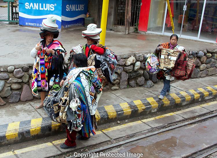 Natives selling souveniers in Machu Picchu.