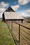 Historic wooden barn built by Isaac Church, 1895, still in use by his descendants near Sattley, Sierra County, Calif.