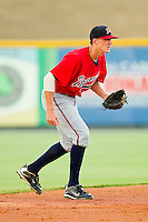 Shortstop Nick Ahmed #22 of the Danville Braves on defense against the Burlington Royals at Burlington Athletic Park on August 14, 2011 in Burlington, North Carolina.  The Braves defeated the Royals 10-2 in a game called by rain in the bottom of the 8th inning.   (Brian Westerholt / Four Seam Images)