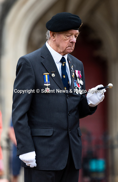 Pictured: Royal Navy veteran John Bond pays his respects during the VJ Day service the outside Winchester Cathedral in Winchester, Hants. <br /> <br /> Today marks the 75th anniversary of VJ (Victory over Japan) Day, marking both the surrender of Japan and the end of the Second World War.<br /> <br /> © Jordan Pettitt/Solent News & Photo Agency<br /> UK +44 (0) 2380 458800
