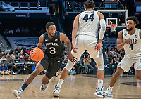 WASHINGTON, DC - JANUARY 28: Kamar Baldwin #3 of Butler gets past Omer Yurtseven #44 of Georgetown during a game between Butler and Georgetown at Capital One Arena on January 28, 2020 in Washington, DC.