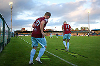 Cobh Ramblers players warm up before the second half.<br /> <br /> Cobh Ramblers v Cork City, SSE Airtricity League Division 1, 28/5/21, St. Colman's Park, Cobh.<br /> <br /> Copyright Steve Alfred 2021.