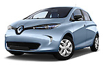 Low aggressive front three quarter view of a 2013 Renault Zoe Life ZE Hatchback2013 Renault Zoe Life ZE Hatchback